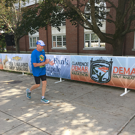 John Points finishing the Clarence DeMar Marathon 2020