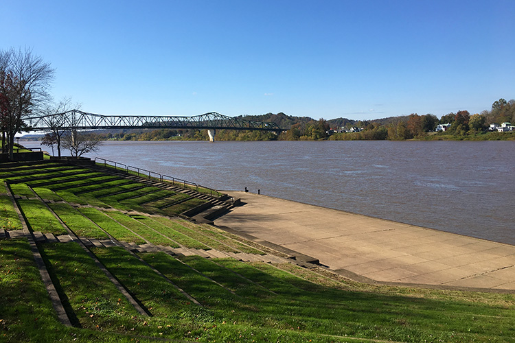 View of Harris Riverfront Park and the Ohio River during Marshall University Marathon