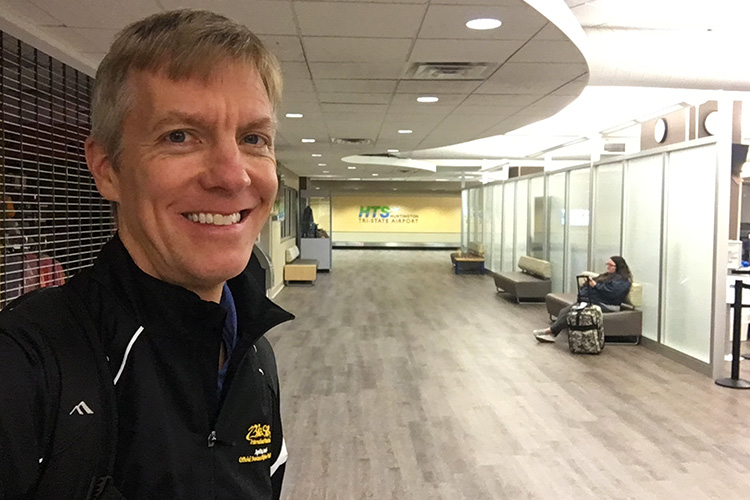 Mike Sohaskey at empty terminal in Huntington Tri-State Airport