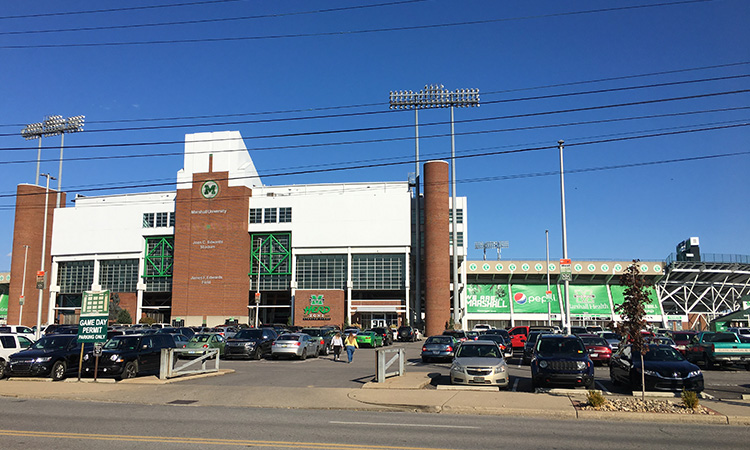 Joan C. Edwards Stadium, finish of Marshall University Marathon
