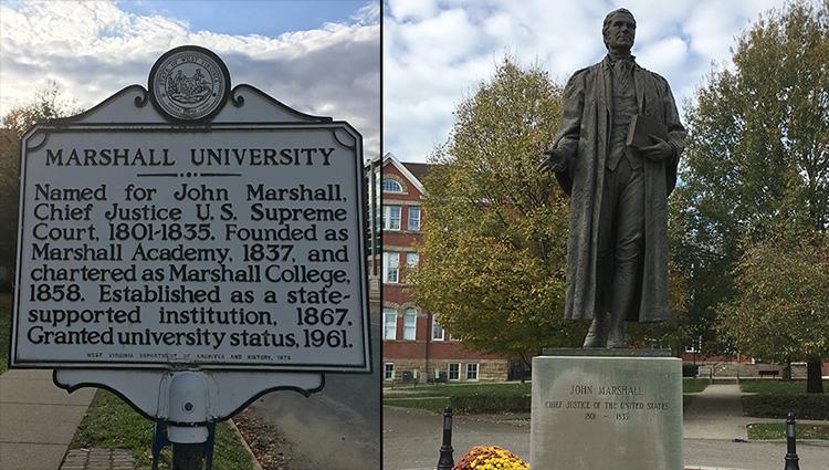 Marshall Univeristy sign and John Marshall statue