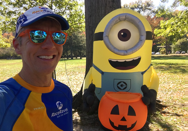 Mike Sohaskey and inflatable Minion during Marshall University Marathon