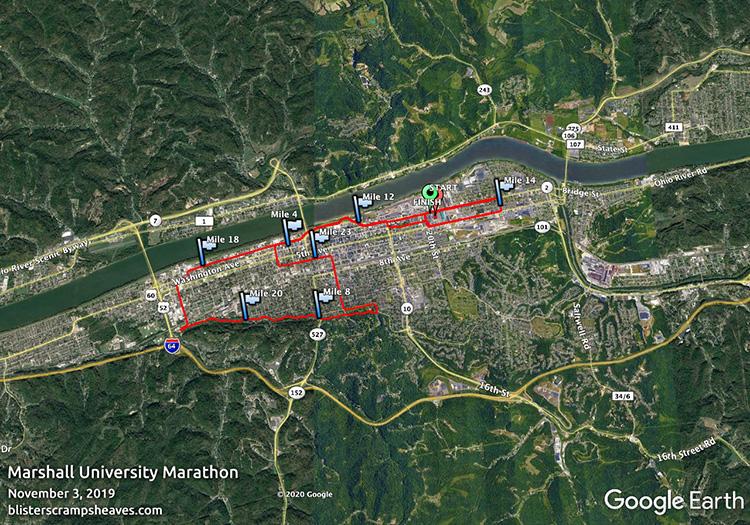 Marshall University Marathon course map