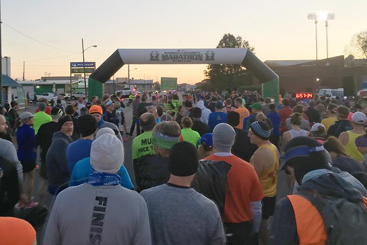 2019 Marshall University Marathon start line