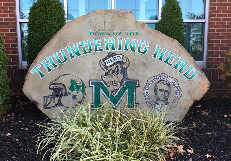 Thundering Herd boulder at Marshall University