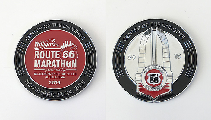 Route 66 Marathon Center of the Universe challenge coin
