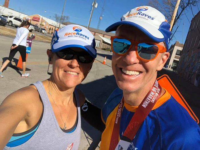 Mike Sohaskey and Evelyn in the home stretch of the Route 66 Marathon (mile 26.4)