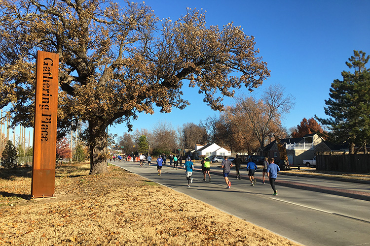 Passing the Gathering Place in mile 10 of the Route 66 Marathon