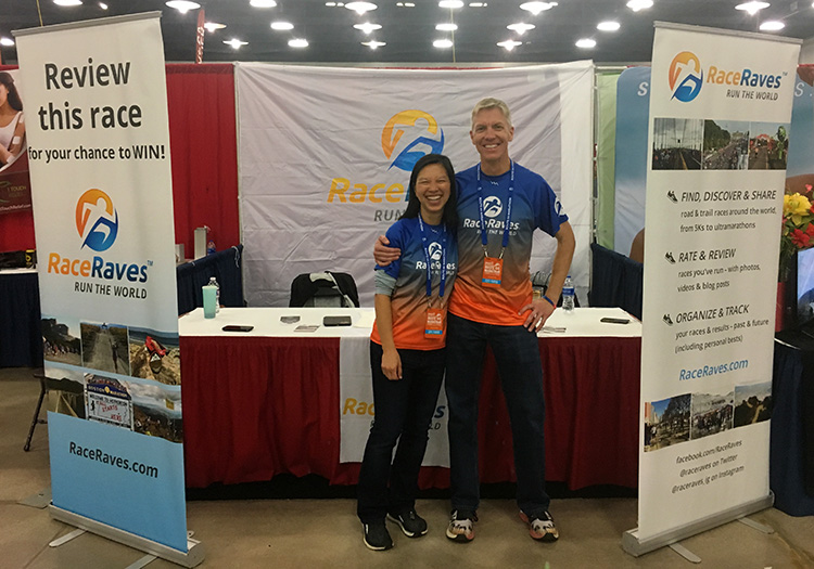 Mike Sohaskey and Katie Ho at 2019 Route 66 Marathon expo