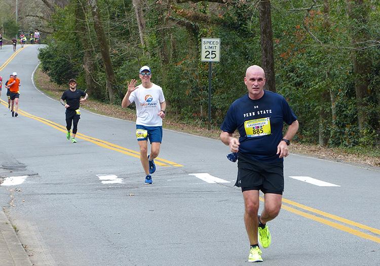 Mike Sohaskey all smiles in Allsopp Park, mile 18 of the Little Rock Marathon