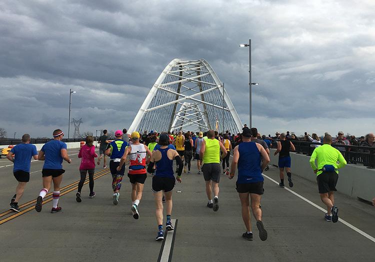 Crossing the Broadway Bridge into North Little Rock, mile 2 of Little Rock Marathon