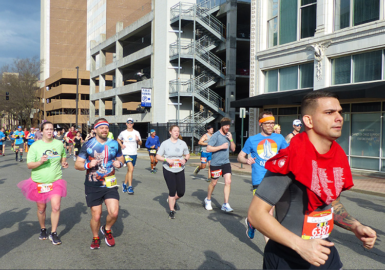 Spotting Mike Sohaskey early on at the Little Rock Marathon