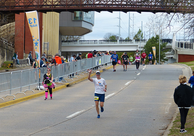 Mike Sohaskey in the final homestretch of the Little Rock Marathon