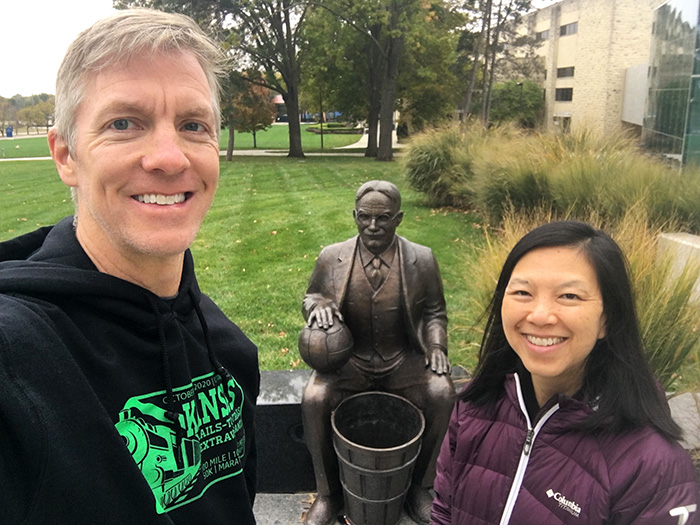 Paying our respects to Dr. James Naismith on the University of Kansas campus