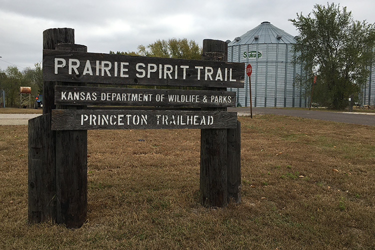 Prairie Spirit Trail sign at Princeton Trailhead on Kansas Rails-to-Trails Fall Ultra course
