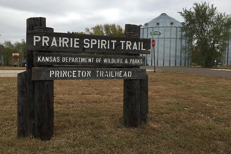 Prairie Spirit Trail sign at Princeton Trailhead on Kansas Rails-to-Trails Fall Ultra course