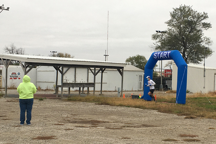 Mike Sohaskey crossing the start line at the Kansas Rails-to-Trails Fall Ultra Extravaganza