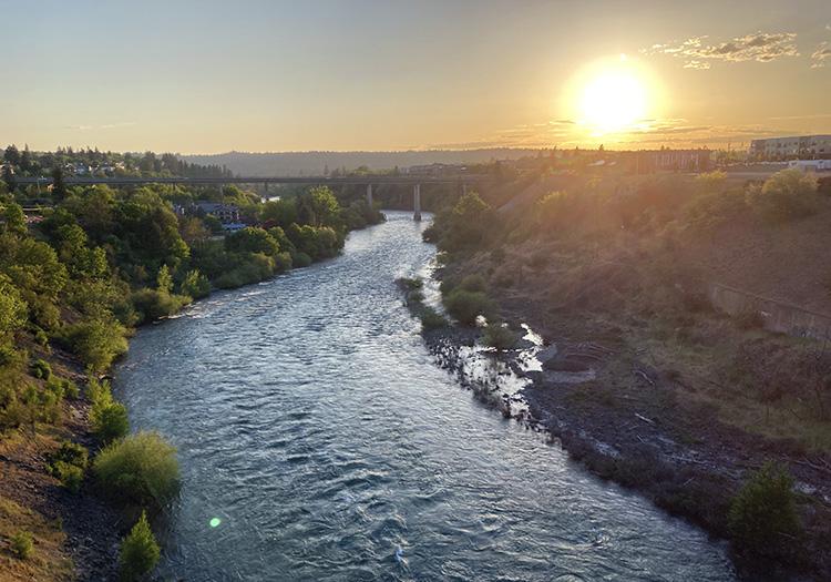 Sunset over the Spokane River