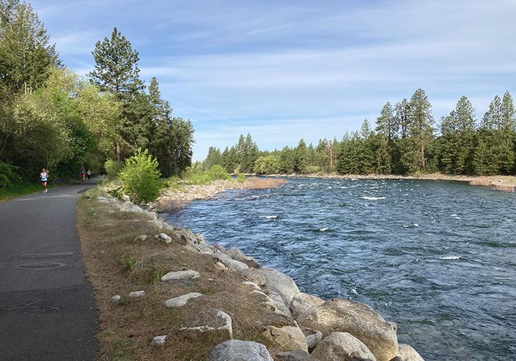 Centennial Trail alongside the Spokane River at mile 2 of the Windermere Marathon