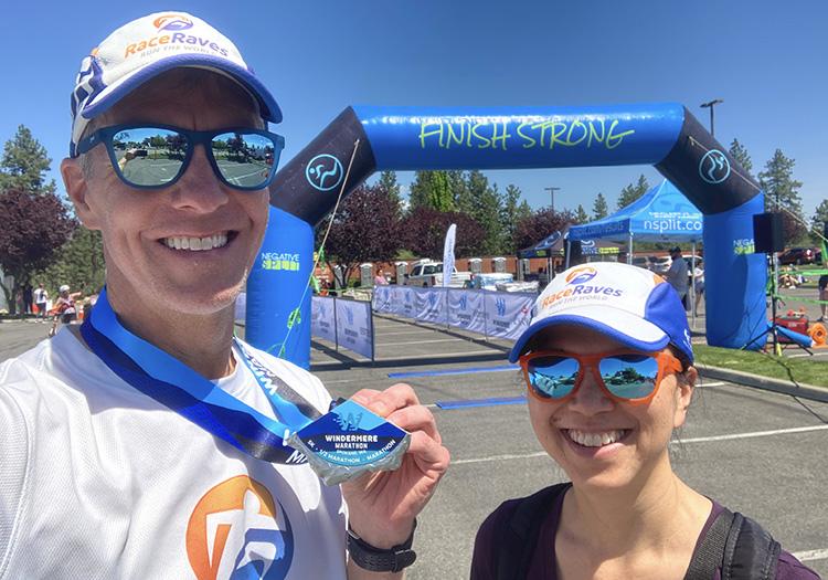 Windermere Marathon finish line selfie, Mike Sohaskey & Katie Ho
