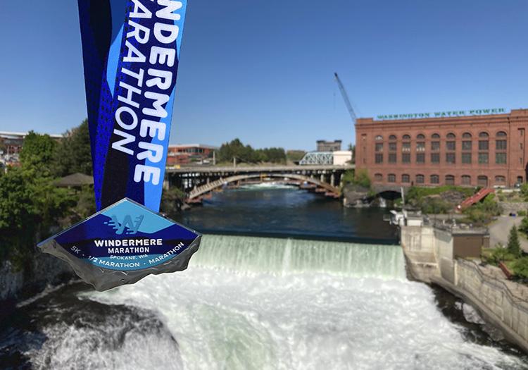 Windermere Marathon medal with Spokane Lower Falls seen from Monroe Street Bridge